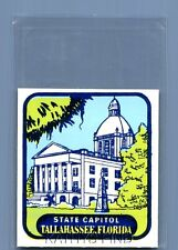 VINTAGE TRAVEL DECAL U_0018 STATE CAPITOL IN TALLAHASSEE FLORIDA