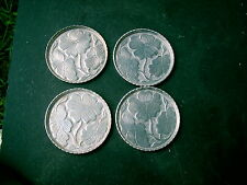 SET OF 4 OPEN  FLOWERS COASTERS  HAMMERED ALUMINUM ERA STAMPED CLEARANCE PRICE
