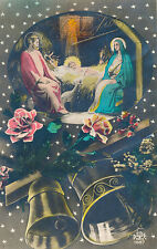 Beautiful French Holy Family Christmas Card, Snow, Bells, Manger Scene