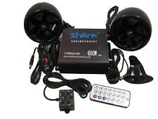 "shark 600 watt Bluetooth motorcycle marine audio system w/ 4""  speakers, black"