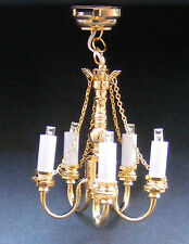 1:12 Scale Working LED 5 Arm Up Brass Palace Chandelier Dolls House Miniature 82