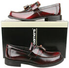 Mens New Oxblood Leather Slip On Toogle Tassel Loafer Shoes Size6 7 8 9 10 11 12