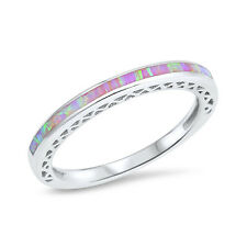 Half Eternity Band Ring Lab Created Opal 925 Sterling Silver Choose Color