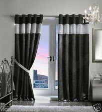 DIAMANTE THERMAL BLACKOUT PAIR CURTAINS READY MADE EYELET RING TOP FULLY LINED