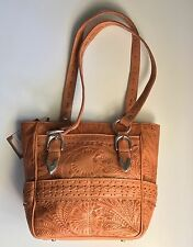 American West Pleasant Hills Tooled Stamped Leather Tote Shoulder Bag Purse NWT