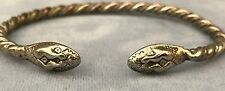 Vintage Silver Over Copper Mexican Double Snake Head Bangle Bracelet