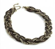 Burnt Gold Bronze Brown Retro Mesh Braided Plait Choker Catwalk Feature Necklace