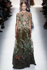 VALENTINO COUTURE BIRD APPLIQUE CHIFFON SEXY SHEER GOWN sz US 4 MSRP: $34,000.00