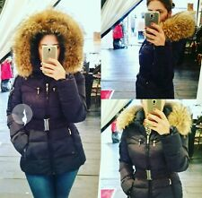 Real fur hood coat black winter belted jacket UK 8 12 14 Towie parka attentif