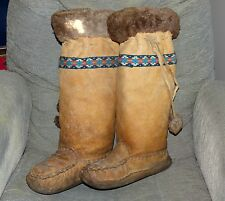 Early native American Indian Eskimo fur snowshoe moccasins mukluks FREE SHIP!