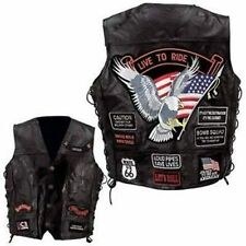 Black Leather Vest Motorcycle Biker Harley Rider Eagle US Flag 14 Patches XL
