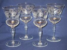 Set of 4 Gray Cut Floral Thistle Wine Glasses Leaves