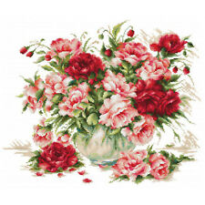 Cross stitch kit pivoines luca-s premium threads