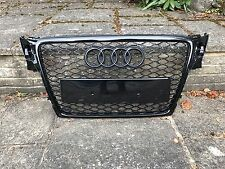 AUDI A4 S4 S-LINE RS4 STYLE B8 FRONT BUMPER RADIATOR GRILLE GLOSS BLACK 2008-12