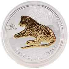 2010 1 Oz Ounce Silver Australian Lunar Tiger Coin Gold Gilded Edition 999 RARE