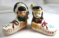 Vtg,  Americana, Indian Chief &Squaw in Moccasin SALT & PEPPER SHAKERS