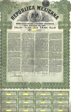 Mexico 4% Bond External Gold Loan 1910 Republica Mexicana £20 coupon Uncancelled
