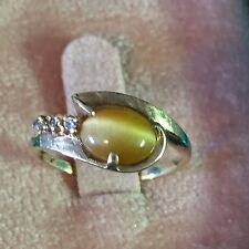 Vintage 10k Yellow Gold With Amber Tiger Eye And Diamond Ring~Size 6
