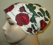 Flannel Roses Print New Sty Flannel Sleep Cap Cancer Chemo Alopecia  Made in USA