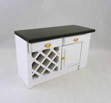 Dollhouse Miniature White Kitchen Center Island with Black Top, T5300