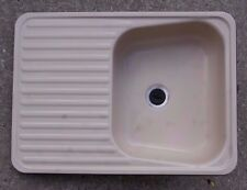 Caravan small kitchen sink with integrated drainer in cream 55 x 40cms Motorhome