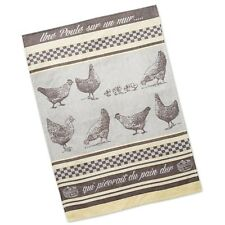 "Dish Towel - (Tea Towel) French Inspired Design ""Une Poule"" - 100% Cotton (Gray)"