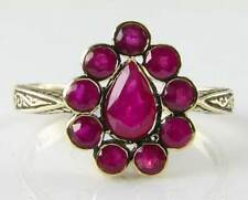DIVINE 9K GOLD VINTAGE INSP ALL RUBY TEAR DROP  RING