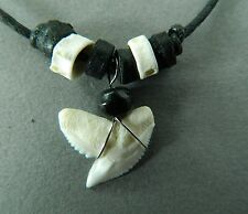 TIGER SHARK TOOTH NECKLACE  real sharks teeth wood bead strong cord 1.5cm