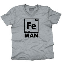 Fe Man Iron Chemistry Periodic Table Geek Nerd Gift V-Neck T-Shirt