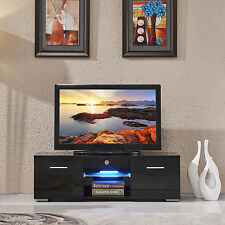 High Gloss TV Stand Unit Cabinet w/LED Shelves 2 Drawers Console Furniture Black