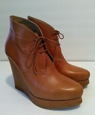 Jill Sander Chestnut Leather Wedge Ankle Boots Size 8.5 Lace Up
