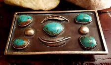 GORGEOUS Large Vtg. NAVAJO High Grade Domed Turquoise Sterling BELT BUCKLE  .925