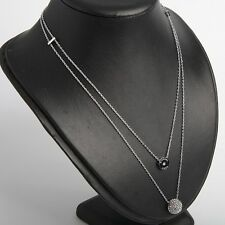 Michael Kors Silver Two Layer Double Pendant Necklace