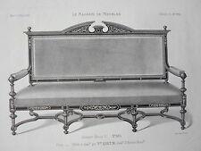 Canapé style HENRI II GRAVURE le MAGASIN de MEUBLES Victor QUETIN XIXéme