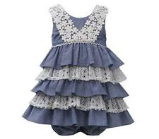 NWT Bonnie Baby Girl 18M Summer Chambray LACE & RUFFLES Sundress w/ Panty Set