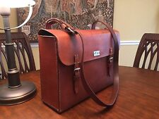 Vintage Original Military Saddle Leather Messenger Bag - Made In Switzerland