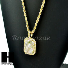 "HIP HOP GOLD PLATED ICED OUT DIAMOND SHAPE PENDANT 24"" ROPE CHAIN NECKLACE 248"