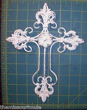 NEW~Distressed Whitewash Fleur de Lis Iron & Tin Cross Cottage Shabby Wall Decor