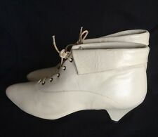 VTG Leather Off White Victorian Style Lace Up Boots Wedding Granny Steampunk