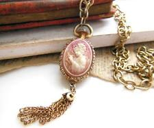 Vintage Gold Pocket Watch Style Carved Shell Cameo Pendant Necklace UU26