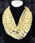 B84 Lurex Metallic Open Weave Gold & Ivory Infinity Scarf Boutique