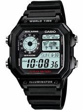 Casio AE-1200 Original New Men's Watch 100 Meter 5 Alarms Resin Band AE1200WH-1A