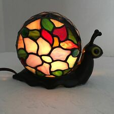 Quoizel Stained Glass Tiffany Style Snail Night Light Table Desk Lamp