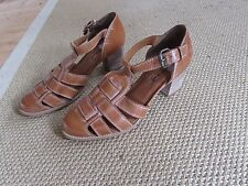Office Tan Leather Woven T Bar Shoes Heel 7uk 40 Eur
