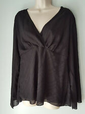CATO  Sheer Black V Neck Long Sleeve Blouse Top Plus Size XL