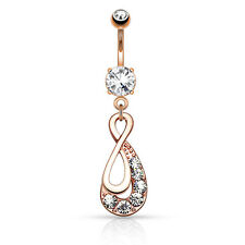 14K Gold Plated or Rose Gold Infinity Drop CZ Dangle Belly Button Navel Ring 14G