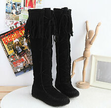 SZ35-43 Womens Knee High Suede Lace Up Tassels Pull On Knight Long Boots Shoes