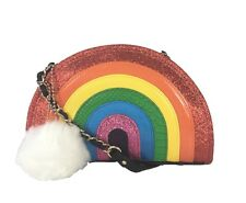 NWT Betsey Johnson I Love Hue Rainbow Crossbody Bag + White Fur Pom-Pom