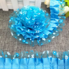 New 5 yards 2-Layer 40mm Organza Lace Gathered Pleated Sequined Trim A#07