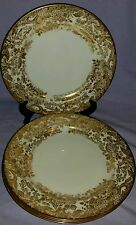 SET 4 ANTIQUE JOSIAH WEDGWOOD CA 1876 HEAVY GOLD FLORAL & SWIRLS DINNER PLATES
